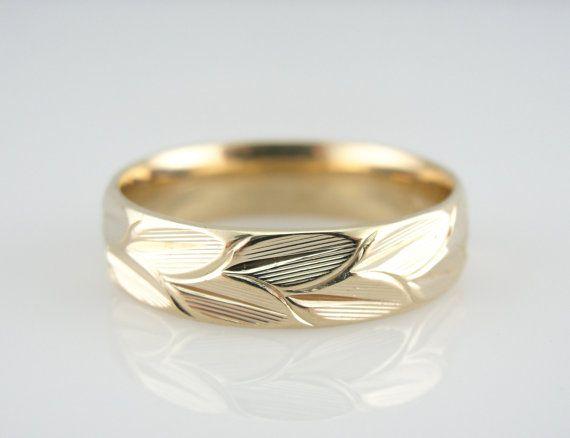 gorgeous unisex wedding band with engraved leaf motif njw08f d