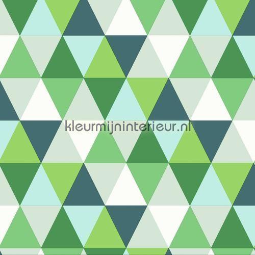 Colourcollage piramides green behang 342-347203 uit de collectie Urban Funky van Origin ontdek je bij kleurmijninterieur