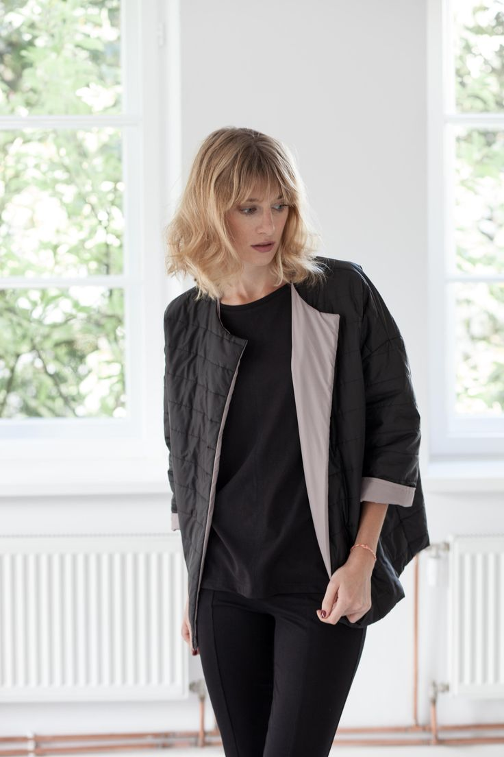 Autumn jacket. Black and powder pink. Women clothes.