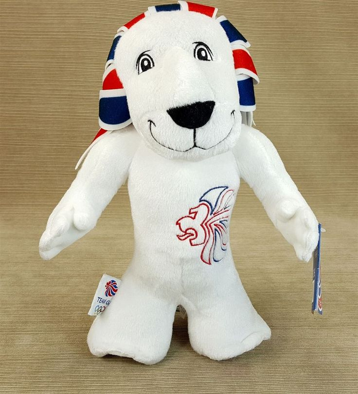 "Olympics Team GB Pride Lion Mascot 12"" Stuffd Plush Red White Blue Great Britain"