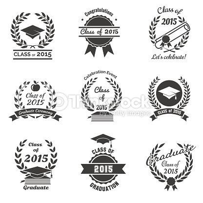 Vector Art : Graduation labels. High School and congratulations graduate logo set