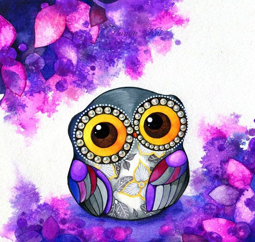 Owl in Purple Blossoms - OWL ART Fine Art Giclee  Painting Print - Colorful Whimsical Bird Artwork Owl Nursery Decor. $18.00, via Etsy.