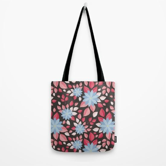 Seamless wall-paper, decorative flowers, black background Tote Bag