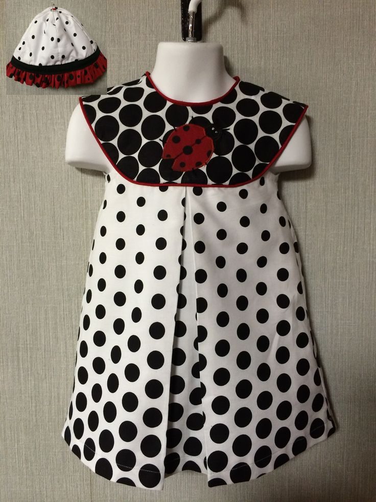 Polka dots & Lady bugs!! Cotton dress made with lady bug applique and red piping trim. Matching sun bonnet. Size 3/4 .. $28