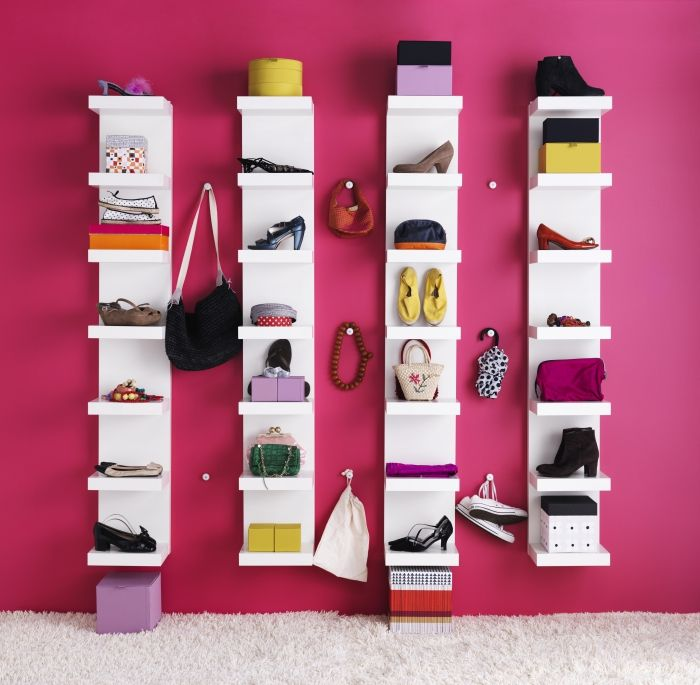 Calling all Fashonistas!  Why not display your prized accessories just like in a boutique?  The LACK shelving unit does the job.