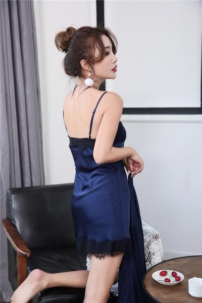 3572b9f70738 Women Robes Gown Sets Sexy Lace Satin Sleepwear Pajamas Nightwear Silk Night  Skirts Home Clothing Sleep Lounge with Chest Pads