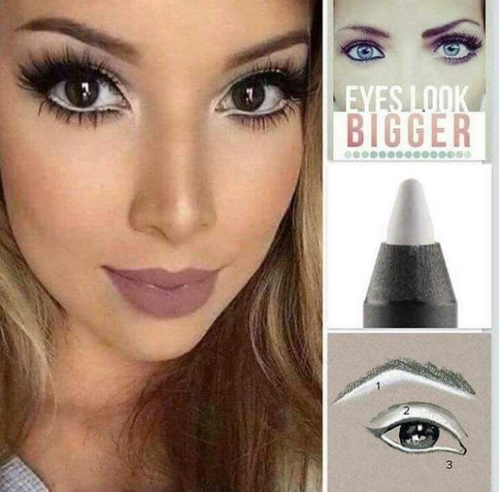 Makeup tip- use white eyeliner to create bigger eyes ❤ www.beckyslusciouslashes.com