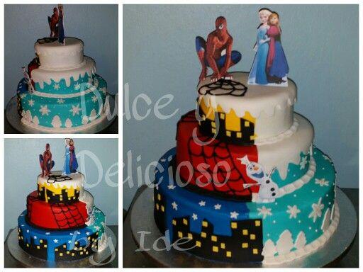 Frozen Amp Spiderman Cake Mis Cakes Tematicos Pinterest