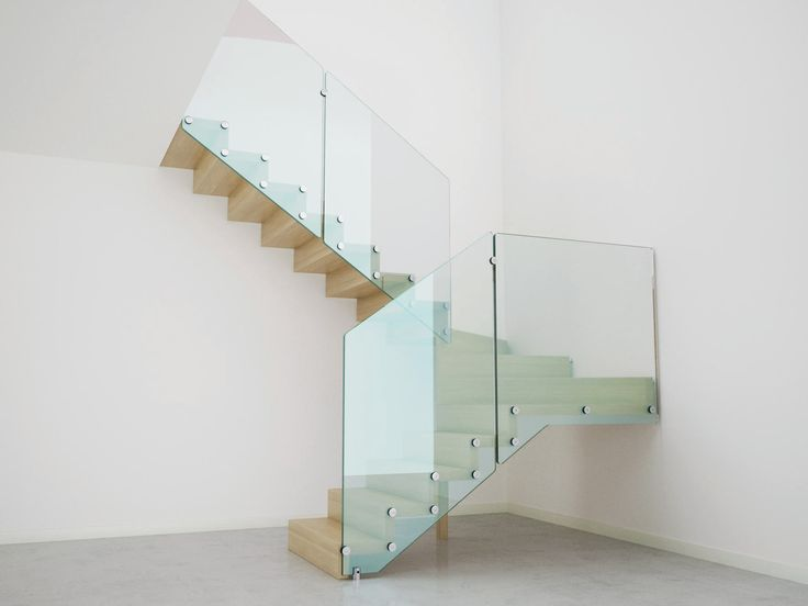 Stairs with glass railings