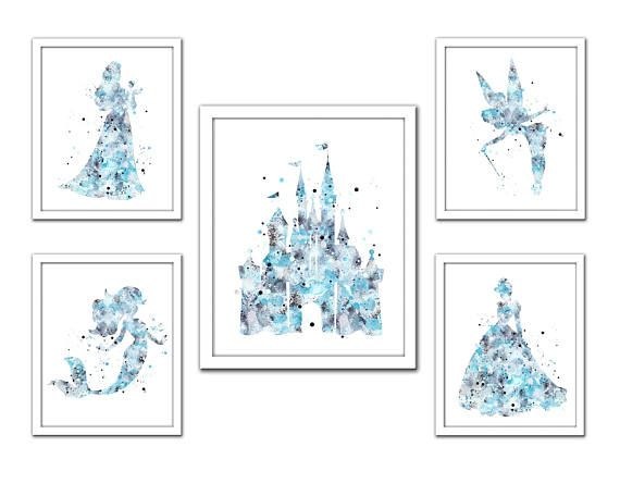 Blue silver Princess print Disney princess set princess