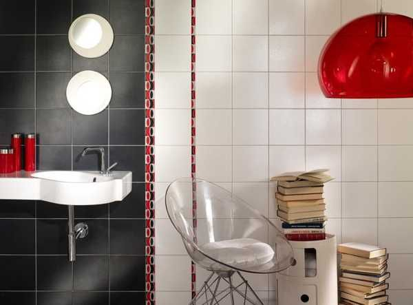 white and red bathroom tiles