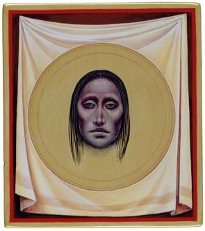 Station 6, Jesus' face is wiped with a linen napkin. | A painting by Fr John Battista Giuliani. Hillstream LLC.