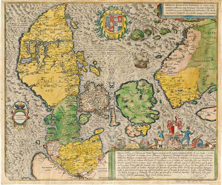 """Cimbricae Chersonesi,"" Jordan, 1552.  Ancient Map of Denmark"