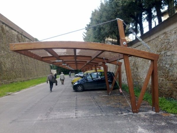 cantilevered steel pergola