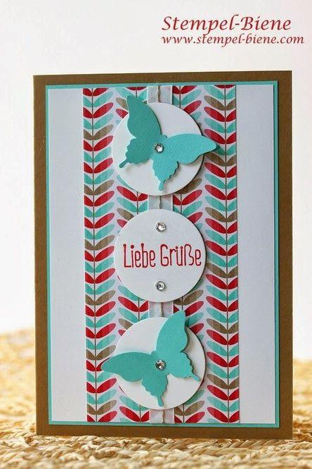 Stampin Up Ganz schön aufgeblasen, Grußkarte basteln, Designerpapier im Block Frisch und Farbenfroh, Stanze eleganter Schmetterling, Sale-a-...