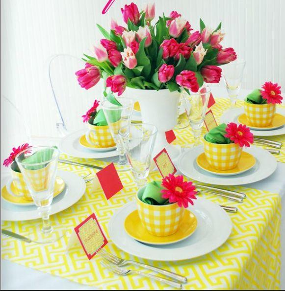 Colores para la mesa: Rosa y amarillo