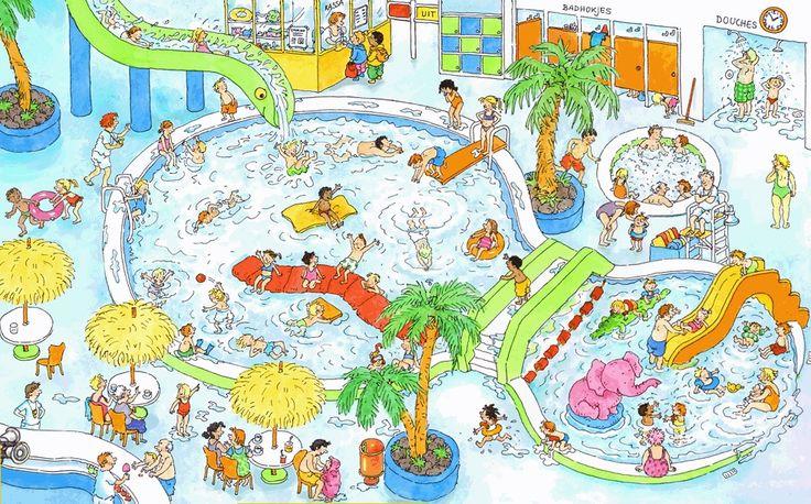 Praatplaat Bas - Zwembad (Getekend door Dagmar Stam)