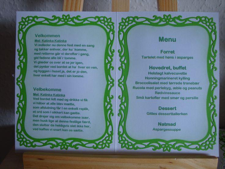 (Made by Susanne Elfrom Nguyen) Menu-/ velkomstsang-/ bordkort til Gitte og Per`s bryllup