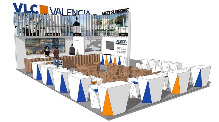 Stand feria turismo IBTM Valencia Generalitat diseño carton por Cartonlab. Booth trade fair tourism IBTM Valencia Generalitat design cardboard by Cartonlab.