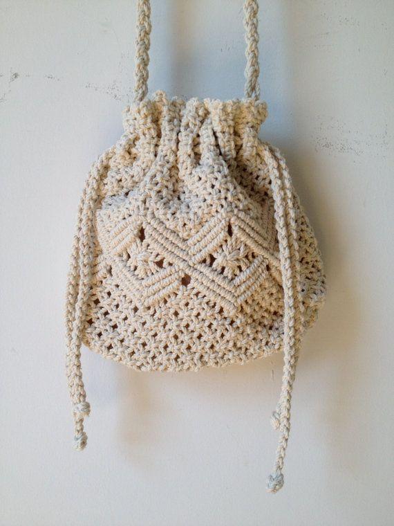 vintage crochet drawstring cross body bag