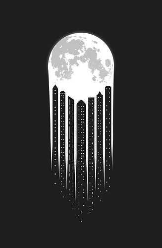 very cool and quite simple in it's negative space!...Moon-City