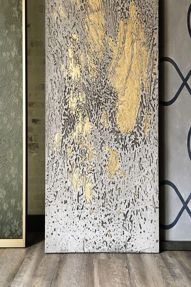 Artistic Panels of DEL BELLO Collection. Trasparenza in Luxme Malva | Xensum Foglia Oro | Xensum Risalto Vanto