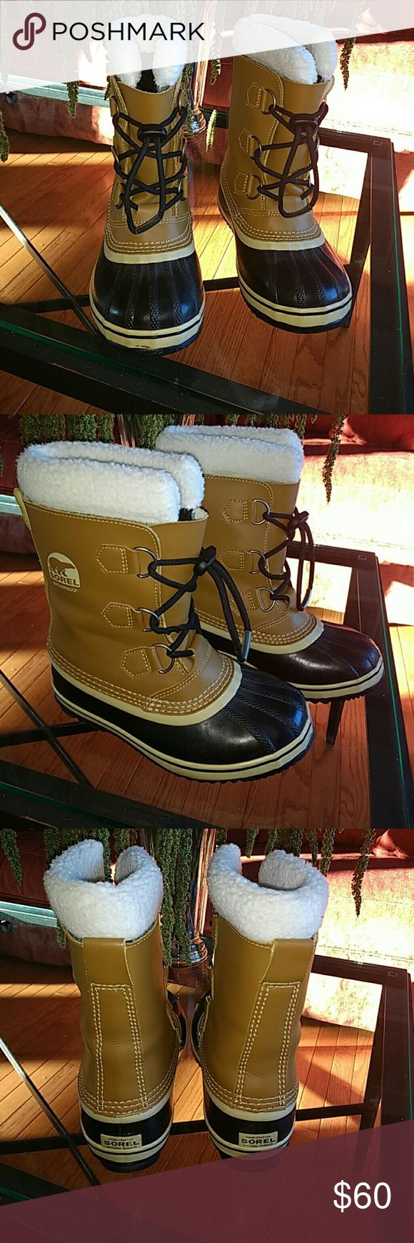 SOREL Kids 'Yoot Pac' Waterproof Boots Handcrafted rubber sole; -40?F/-40?C; removable 9mm washable recycled felt insulated onebut with Sherpa piled snow cuff; Boots are in excellent condition; Sorel Shoes Boots