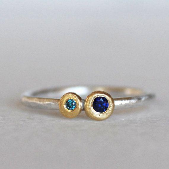 Sapphire Diamond Pebble Ring  Blue Sapphire 18k by LilianGinebra
