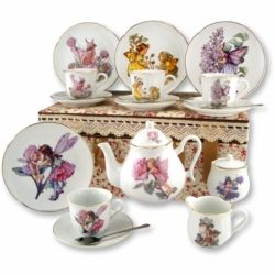 This nostalgic children's tea set is made of fine porcelain by famous German maker, Reutter.  It is well-suited for a delightful tea party for four.  The set features a collection of Cicely Mary Barker's Flower Fairies™. The entire set is hand-finished with 24k gold trim and is also dishwasher safe! The Tea Set includes four 6