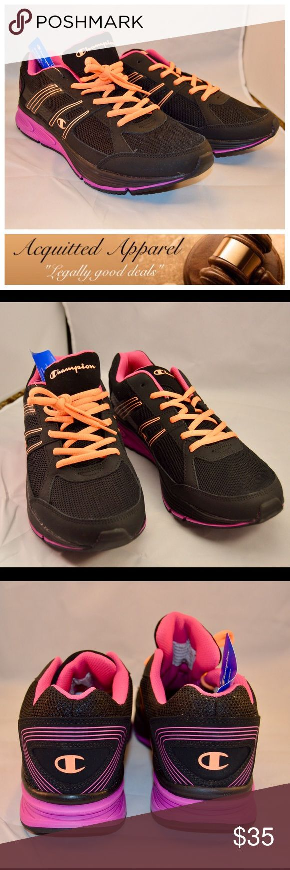 NWT Champion Black And Pink Neon Sneakers Perfect for looking cute while working out. These are super comfortable sneakers. Brand new in box with tags. Size 13 Champion Shoes Sneakers