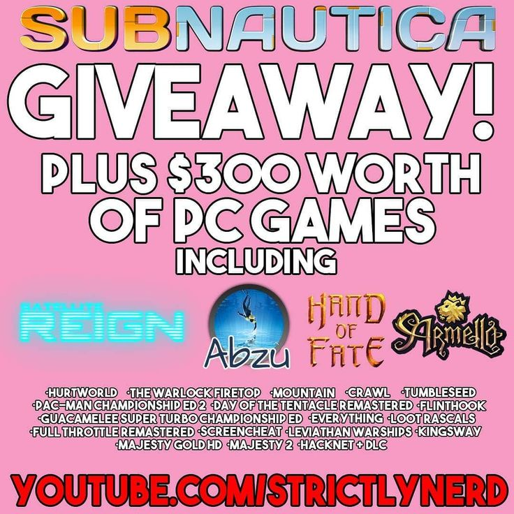 5 days left to enter to #win #subnautica & 21 other #games!  Link in Bio! #contest #sweepstakes #prize #gleam #strictlynerd #videogames #steam #vr #oculus #OculusRift #HTCVive #indiegames #free #giveaway #endingsoon