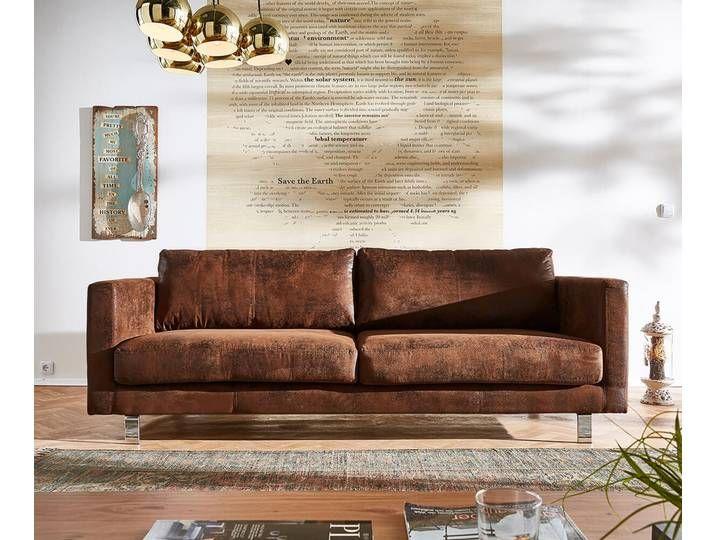 Delife 3 Sitzer Baracca 220x95 Braun Antik Optik Bauhausstil Sofa 2 3 Sitzer Moderne Couch Sofa Billig Bauhausstil