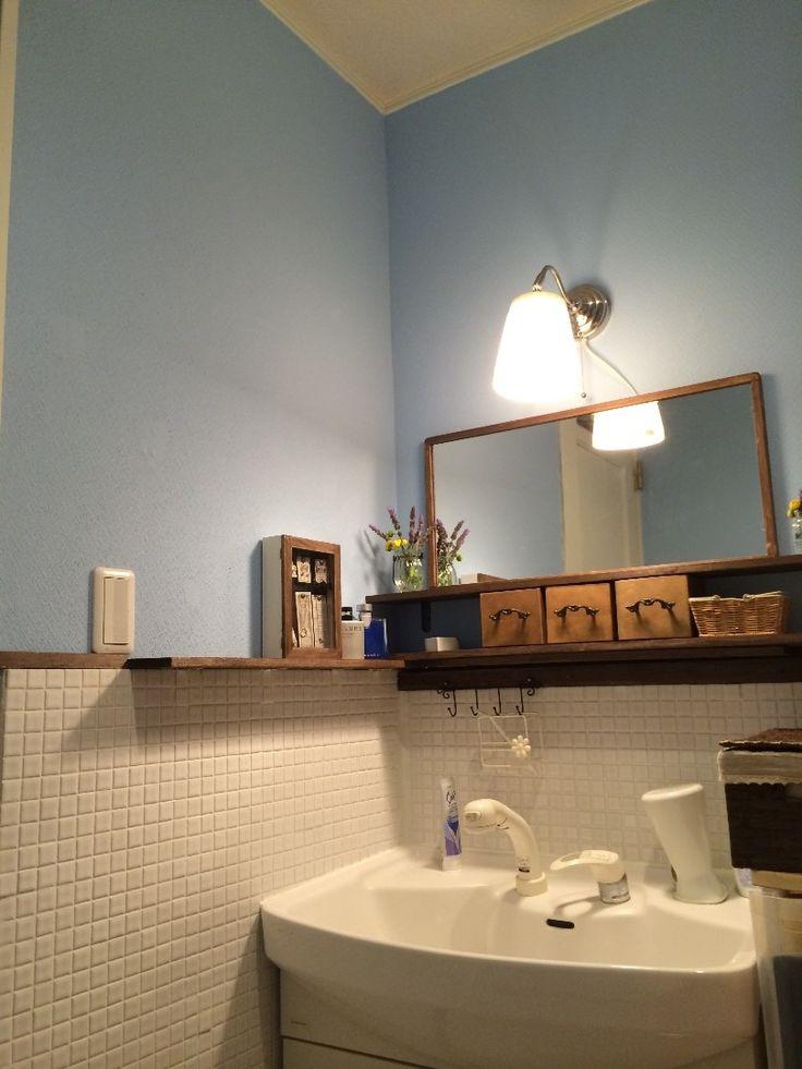 建売住宅の洗面所をセルフリフォーム ビフォーアフター 洗面所 Diy リフォーム バスルームのインテリアデザイン 古い家 Diy