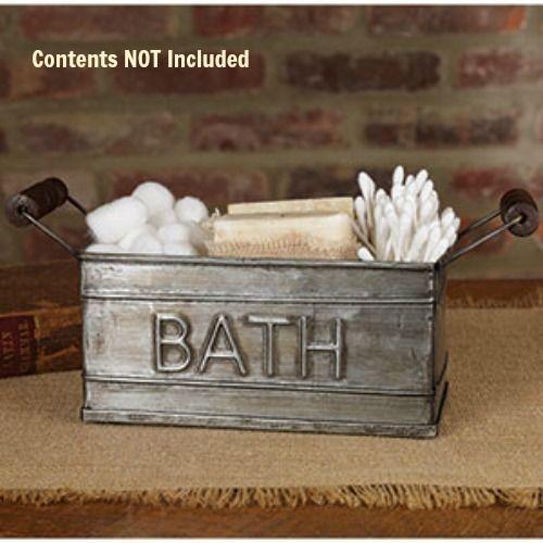 New Primitive Country Farmhouse Chic Soap BATH BUCKET HOLDER Tin Caddy Basket #CountryHouse