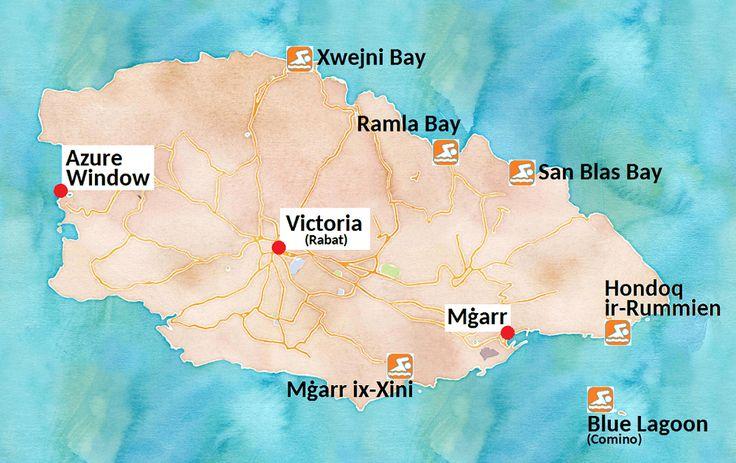 Carte des plus belles plages des îles de Gozo et de Comino, dans l'archipel de Malte (cliquez sur l'image pour plus d'informations !)