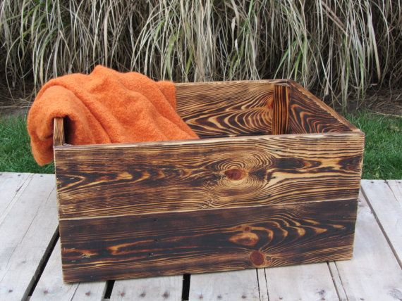 Large Wood Crate Stackable Made From Reclaimed Wood Pallets - Photography Prop or Home Decor via Etsy