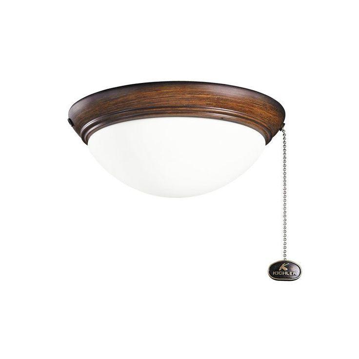 Kichler 380120 Small Two Light Low Profile Halogen Light Kit Mediterranean Walnut Fan Accessories Fan Light Kits Fan Light Kits