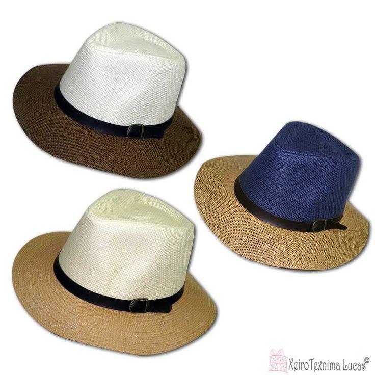 Ψάθινα καπέλα σε διάφορα χρώματα