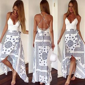 Living the Dream Lace Accent Dress - White + Blue