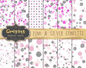 Papel Digital de color de rosa y plata por OriginsDigitalCurio