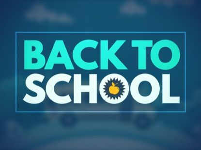 School Bus Motion Background   Playback Media Get your KidMin excited for the end of Summer as they prepare to return to school. This background still features a back to school logo in front of a cartoon school bus driving around town. Great for Back To School!