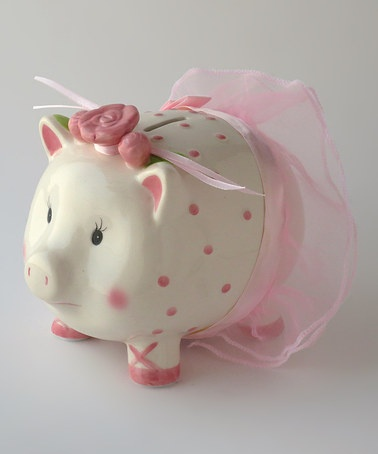 Take a look at this Azzure Home Pink Ballerina Pig Bank by Azzure Home on #zulily today!
