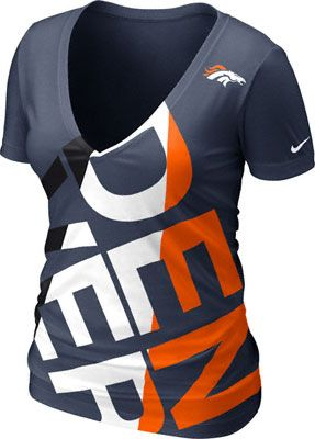 Denver Broncos Women's Navy Nike Off-Kilter Tri-Blend Deep V-Neck T-Shirt