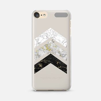 iPod Touch 6 Case Gold Flecked Marble Chevrons / Transparent