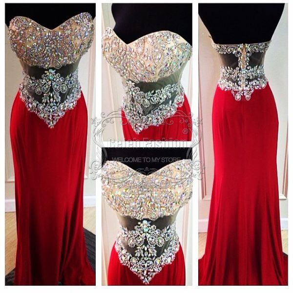 Real Picture Amazing Crystal Beading Bodice Backless Sexy Prom Dress Red Floor Length  Mermaid Prom Evening Dress Customer Made