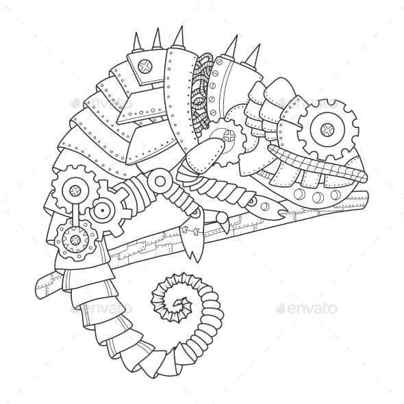 Steampunk style chameleon. Mechanical animal. Coloring