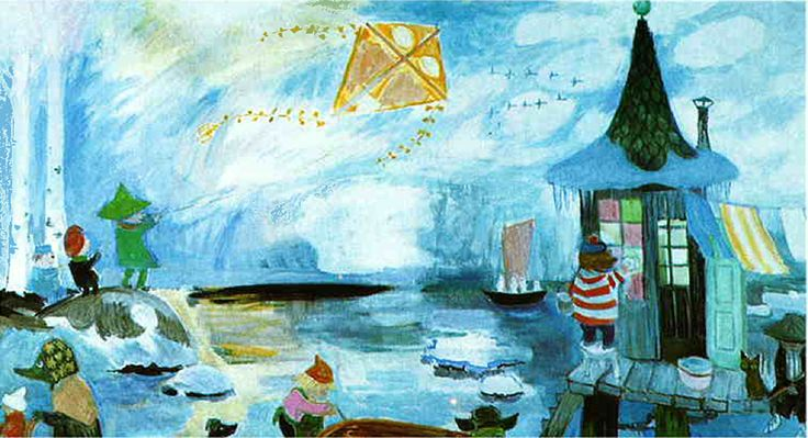 Tove Jansson_Pori_1984_autumn2------ In 1984, 70 year old Tove Jansson painted her last monumental work for the Taikurin hattu (Hobgoblin's hat) kindergarten in Pori, Finland. Three-part mural presents Moominvalley in spring, summer and autumn.