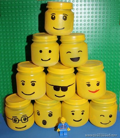"""These cute little Lego-heads are... BABY FOOD JARS! How cool would these be, maybe full of jello for a snack or as a goodie """"bag"""" with something neat inside?!?"""