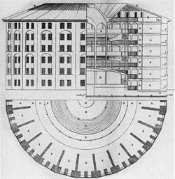 The Panopticon is a type of institutional building designed by English philosopher and social theorist Jeremy Bentham in the late eighteenth century. The concept of the design is to allow a watchman to observe (-opticon) all (pan-) inmates of an institution without their being able to tell whether or not they are being watched.