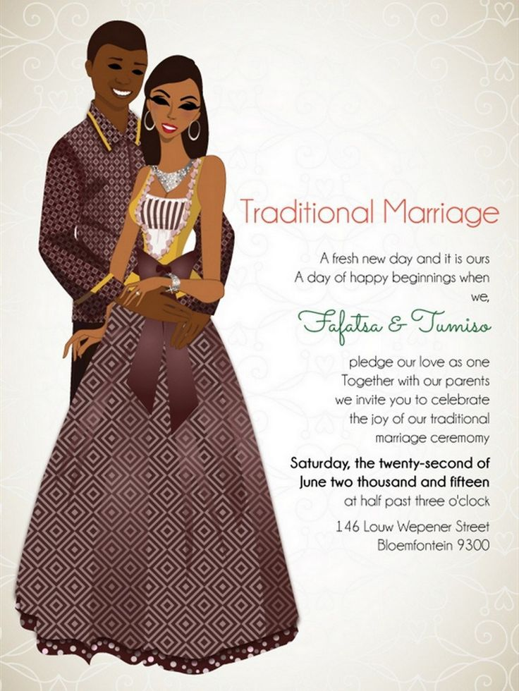 8 beautiful African wedding invitations by Bibi Invitations. Featuring drawings representing countries such as Nigeria, South Africa, Ghana and more.